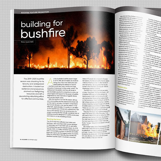Dincel has recently featured in the November edition of HOUSING Magazine in their Building for Bushfire feature.